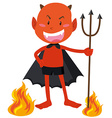 Devil with horns holding trident vector image vector image