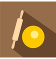 Dough and rolling pin icon flat style vector image vector image
