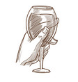glass of wine in male hand monochrome sketch vector image vector image