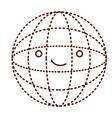 globe world cartoon kawaii in monochrome dotted vector image