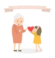 Granddaughter gives heart to grandmother Happy vector image vector image