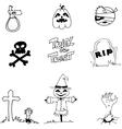 Halloween pumpkins scarecrow tomb in doodle vector image vector image