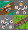 heavy automotive vehicles isometric concept vector image vector image