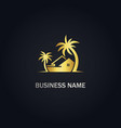home cottage palm tree gold logo vector image vector image