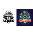 invaders attack emblem badge label vector image vector image
