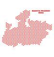 madhya pradesh state map - mosaic of lovely hearts vector image vector image