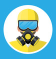 man in yellow hazmat suit with respirator vector image