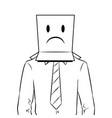 man with box sad emoji on head coloring vector image vector image