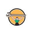 Mechanic Lifting Giant Spanner Wrench Circle vector image vector image