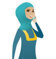 muslim business woman talking on a mobile phone vector image