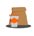 Paper bag with Food and Styrofoam cup vector image