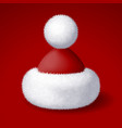 realistic santa hat with white fur isolated vector image vector image
