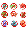 red round signs with different bacteria and germs vector image vector image