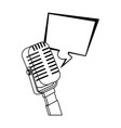 retro microphone and square bubble icon flat vector image vector image