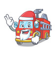 santa fire truck mascot cartoon vector image