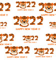 seamless pattern tiger happy new year 2022 vector image vector image