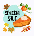 season sale banner with pumpkin pie and fall vector image vector image