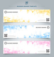 set abstract banner template yellow blue pink vector image vector image