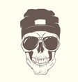 skull with modern hat and sunglasses vector image vector image