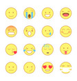 smiley flat icons set emoji and emoticons line vector image