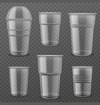 transparent plastic disposable cups empty glasses vector image vector image