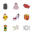 wedding holiday icons set cartoon style vector image