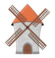 windmill colored doodle vector image vector image