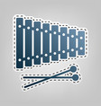 xylophone sign blue icon with outline for vector image vector image
