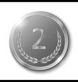 Silver Medal with Olive Branch on White Background vector image