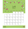 august 2019 wall calendar doodle style vector image vector image