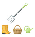basket wicker watering can for irrigation rubber vector image vector image