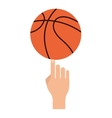 basketball ball and hand icon vector image vector image