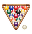 billiard balls in wooden rack vector image vector image