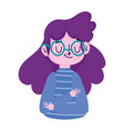 cartoon woman young female profile isolated icon vector image vector image