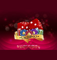 casino colorful chips with red dice vector image
