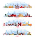 cityscapes warsaw vienna prague dublin vector image vector image