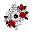 contour clock with red roses vector image