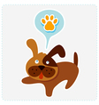 cute cartoon dog with paw icon vector image vector image