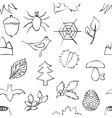 doodle forest seamless pattern vector image vector image