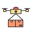 drone delivering carton box innovative shipment vector image vector image