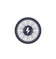 electric bike wheel icon on white vector image vector image