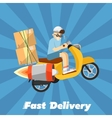 Fast delivery banner Boy riding yellow scooter vector image vector image
