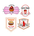 fast food snack meal and desserts icons set vector image