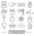 february month theme set of simple outline icons vector image vector image