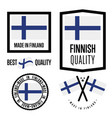 finland quality label set for goods vector image vector image