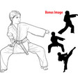 girl practicing karate vector image vector image