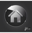 Glass home button icon on metal background vector image