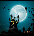 halloween night with castle and pumpkins vector image