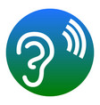human ear sign white icon in bluish vector image