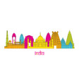 india architecture landmarks skyline line style vector image vector image